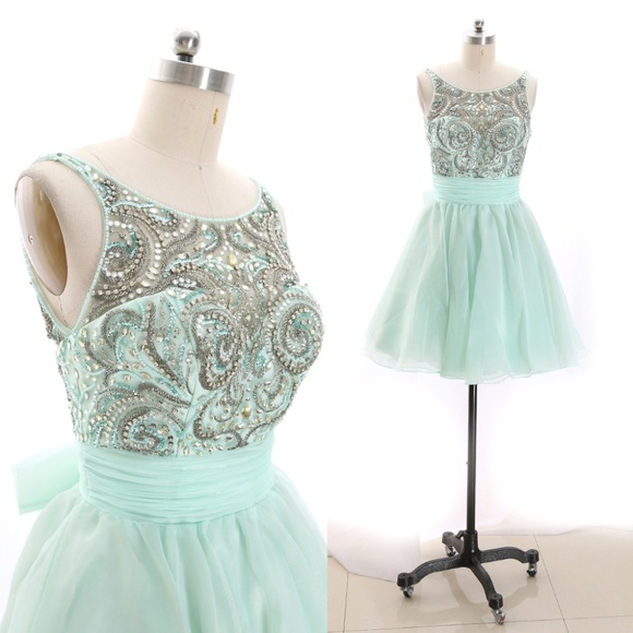 Dresses & Skirts - Crystals Mini Prom Homecoming Dress Cocktail Party